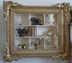 Antique French Carve and Gesso Barbola curio Shabby Chic Style, Shabby Chic Decor, Perfume Storage, Perfume Display, Molduras Vintage, Frame Crafts, Displaying Collections, Shadow Box, French Antiques