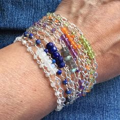 Double Strand Gemstone and Sterling Silver Tassel Bracelets by Dolphinmooncreations #etsyjewelry #tasselbracelet #gemstonebracelet