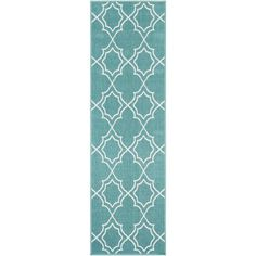 Artistic Weavers Felix Teal 2 ft. 3 in. x 7 ft. 9 in. Geometric Indoor/Outdoor Runner Rug S00151078278 - The Home Depot Outdoor Runner Rug, Indoor Outdoor Area Rugs, Rug Runner, Outdoor Spaces, Polypropylene Rugs, Modern Area Rugs, Trellis, Rug Size, Size 2