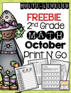 Here's a cute freebie to help you through October! If you enjoy this, please check out the full packet: October Grade Print N' Go Odd and Even Numbers/ Place Value. 2nd Grade Classroom, Math Classroom, Classroom Freebies, Math Stations, Math Centers, Second Grade Math, Grade 2, Third Grade, Math Place Value