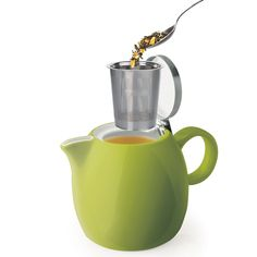 Something like this, maybe not this exact one.  Amazon.com   Tea Forte PUGG 24oz Ceramic Teapot with Improved Stainless Tea Infuser, Loose Leaf Tea Steeping For Two, Pistachio Green: Tea-For-One Sets