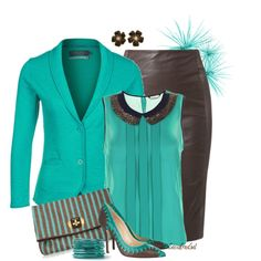 """""""Brown Leather & Teal"""" by sassafrasgal on Polyvore"""
