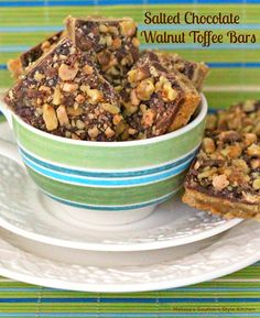 Salted Chocolate Walnut Toffee Bars - Variations of this type of Salted Chocolate Walnut Toffee Bars have been rotating through holiday kitchens for ages.