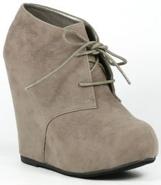 Faux Suede Lace Up High Heel Platform Wedge Ankle Bootie Boot