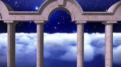 Another picture with the night sky/clouds next to free standing columns
