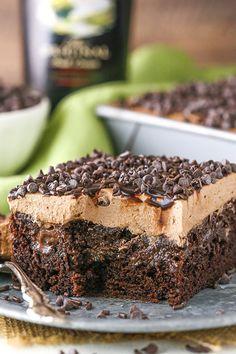 Baileys Chocolate Poke Cake - FULL of Baileys flavor!