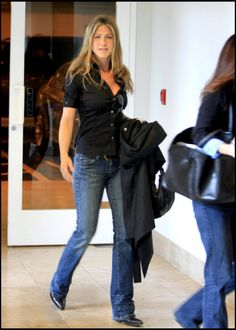 button down denim look jennifer aniston