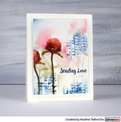 Watercolour stamping card by Heather Telford using Darkroom Door Warm Wishes and Number Medley Stamp Sets.