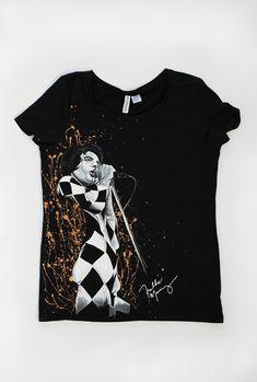 On T-shirt: Farookh Frederic Bulsara, Freddie Mercury, Queen Freddie Mercury, Hand Painted, Queen, T Shirt, Supreme T Shirt, Tee Shirt, Tee