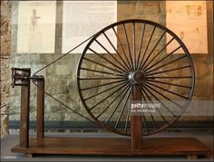 The Leonardo da Vinci museum of the castle of the Counts of Guidi houses one of the most complete collections of machines invented by Leonardo including this spinning wheel in Vinci, Italy in April, 2003.