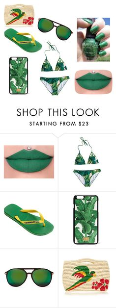 """Green beach wear"" by xxshemurrqueenxx ❤ liked on Polyvore featuring Wonderland, SpaRitual, Havaianas, Dolce&Gabbana, Wildfox and Sensi Studio"