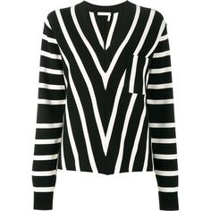 CHLOÉ Striped Jumper ($1,295) ❤ liked on Polyvore featuring tops, sweaters, black and white striped top, black and white striped jumper, fringe sweaters, stripe sweaters and black white striped sweater