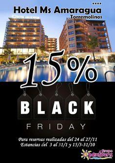 Hotel MS Amaragua **** (Torremolinos, Málaga) ---- Especial Black Friday ------> 15% de descuento ---- Reservas realizadas del 24 al 27 de noviembre, para estancias del 03 al 31 de enero 2018 y 15 de Marzo al 31 de Octubre de 2018. ---- Resto de condiciones de esta oferta en www.opentours.es ---- Información y Reservas sólo a través de agencias de viajes minoristas ---- #msamaragua #hotelamaragua #torremolinos #malaga #costadelsol #andalucia #blackfriday #vacaciones #ofertas #reservas…