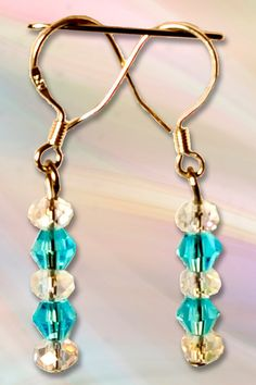 Light Blue & Clear Crystal Earrings on Sterling Silver Wires by LizHivelyJewelry on Etsy