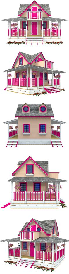 The Wishful Wendy playhouse plan. Includes a full wrap around porch, 2nd floor, balcony and 14 windows. With the basic carpentry tools and a few weekends, you can build this! #backyardplayhouse
