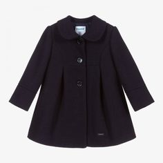A smart navy blue coat for younger girls by Mayoral. Made in a mid-weight wool blend, it has a diagonal pattern in the weave and fastens with navy blue buttons. Fully lined, it has a wide box pleat on both the front and the back. Blue Wool, Wool Coat, Baby Coat, Blue Coats, Box Pleats, Kids Online, Wool Blend, Jackets, Weave