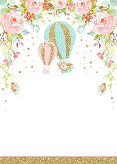 Framed Wallpaper, Cute Wallpaper For Phone, Flower Wallpaper, Air Balloon, Balloons, Baby Frame, Invitation Background, Birthday Template, Girl Baby Shower Decorations