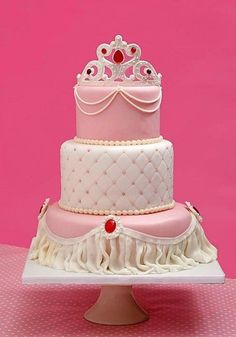 Princess Cake *three tiers, white chocolate mud cake with cream for a little orinces Princess Theme Cake, Princess Birthday, Pink Princess, Princess Wedding, Fancy Cakes, Cute Cakes, Fondant Cakes, Cupcake Cakes, Bolo Tumblr