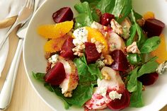 This beautiful summer salad is a delicious combination of colours, textures and flavours. Blue Cheese Salad, Chicken Breast Fillet, Feta Salad, Picnic Foods, Beetroot, Summer Salads, Quick Meals, Food Inspiration, Salad Recipes