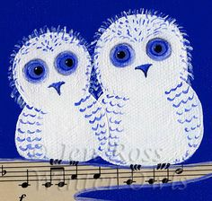 Pair of Owls Print 8 x 8 Blue Music Whimsical by WinterOwls