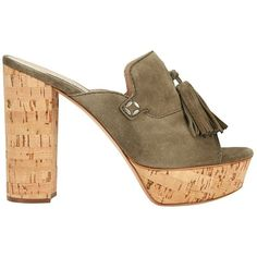 Casadei Cork Heel Tassel Suede Sandal ($595) ❤ liked on Polyvore featuring shoes, sandals, green, suede sandals, green suede shoes, leather sole shoes, suede shoes and casadei sandals