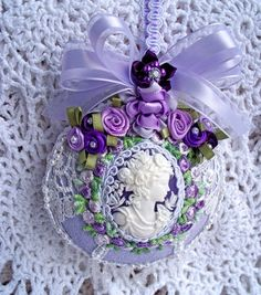 Lavender Christmas ornament with Cameo