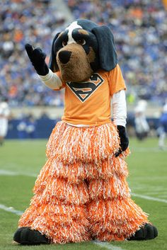 Tennessee Volunteers mascot, Smokey, cheers on the Vols while donning pom-pom pants.