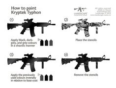 How to paint Kryptek Typhon Camo Stencil, How To Paint Camo, Camo Paint, Camo Guns, Coat Of Many Colors, Camouflage Patterns, Military Guns, Airsoft Guns, Tactical Gear