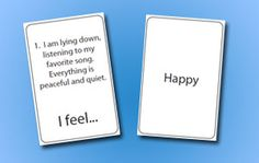 Emotion/Scenario Cards - many people can not read other people at all - these help to associate facial expressions with inner moods...