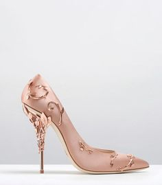 Ralph & Russo - Haute Couture Collection SHOES - STYLE 10-EDEN PUMPS-VINTAGE PINK SATIN WITH ROSE GOLD LEAVES
