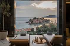 "Villa Geba is a five-star boutique hotel on the unspoiled coast near Budva. Architects Studio RAVN used pale marble and dark polished stone in a clean-lined, modernist design. For the spa and restaurant terrace, RAVN Studio's designer Claudia Ravnbo was first interested by the Tosca chair, then by the Mood collection. ""I was looking for a brand that was luxurious with a contemporary design,"" she says. ""I found a match with Tribù for this stunning project."" #design #contemporary #comfort"