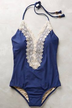 Lace Splicing Halter One Piece Swimwear