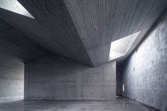 Image 30 of 79 from gallery of Tian Han Cultural Park / WCY Regional Studio. Photograph by Jing Qi Warehouse Project, Roof Architecture, Concrete Architecture, Concrete Art, Dark Walls, Hotel Interiors, Big Houses, Glass House, Second Floor