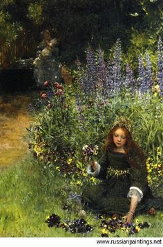 Alma-Tadema Laura Teresa - 'Gathering Pansies'