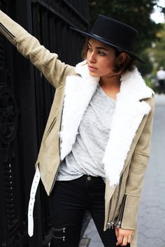 jacket: IRO, top Objets Without Meaning, jeans: J Brand, shoes: Sandro, hat: Worth & Worth