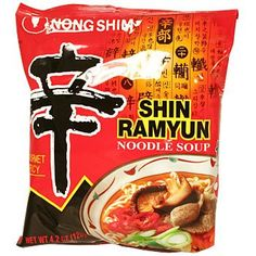 Korean Ramyeon (Ramen) : Shin Ramyeon is a spicy (辛) brand of Korean instant noodles produced by Nongshim since 1986. It is exported to over 80 different countries, and is the highest selling brand of noodles in Korea.