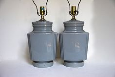 Gorgeous Dove Gray Art Deco Style Glass Lamps by TheRelicTrail, $128.00