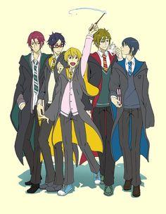 HP crossover ... Free! - Iwatobi Swim Club, rei ryugazaki, rei, ryugazaki, nagisa hazuki, nagisa, hazuki, haruka nanase, haru nanase, haru, nanase, haruka, makoto tachibana, makoto, tachibana, rin matsuoka, rin, matsuoka, free!, iwatobi
