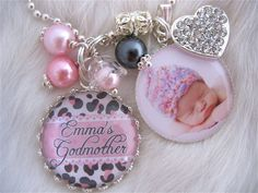 GODMOTHER GIFT Photo pendant keychain cheetah print necklace personalized God Son Daughter Baptism Jewelry Mother Grandma Nana, Pink Leopard