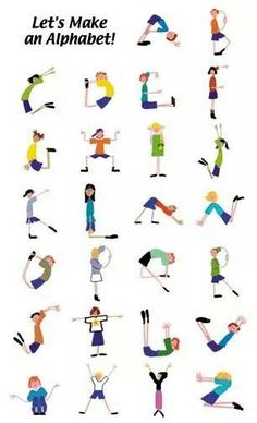 alphabet yoga for kids * alphabet yoga for kids + alphabet yoga for kids free printable + alphabet yoga for kids gross motor + alphabet yoga for kids letters + alphabet yoga poses for kids + kids alphabet yoga Poses Yoga Enfants, Kids Yoga Poses, Yoga For Kids, Exercise For Kids, Abc Poster, Posters Escolares, Alphabet Activities, Preschool Activities, Chico Yoga