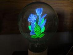 VINTAGE-AEROLUX-Neon-4-Bulb-Flower-and-Leaves-GLOWING-LIGHT-BULB-Original
