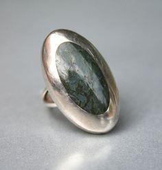 Vintage Taxco Mexico Sterling Silver 925 Snakeskin Jasper Modernist Ring