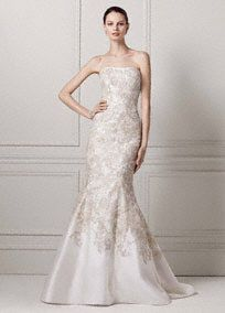 Mikado Trumpet Gown with Allover Beaded Lace Style CWG480 Oleg Cassini SALE - In Stores and Online Buy Now was$1300.00 - now$1049.99