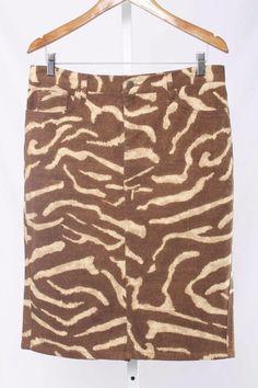 Ralph Lauren Size 6 Brown Zebra Print Denim Stretch Pencil Skirt 3864 T916  | eBay