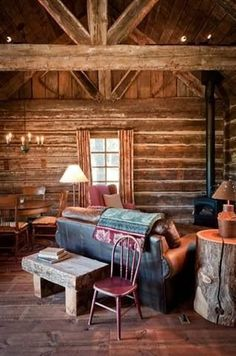 Log Cabin Living, Log Cabin Homes, Home And Living, Log Cabins, Living Room, Cozy Cabin, Cozy House, Sweet Home, Little Cabin