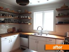 Before & After: Mousy Kitchen gets an IKEA Makeover | Apartment Therapy. The complete makeover only cost 13K too! Love cost-effective, simple, open, and airy changes :)