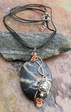 Turtle Walk Copper Stainless Steel Marble by ThePurpleLilyDesigns, $20.00 Marble Jewelry, Metal Jewelry, Pendant Jewelry, Antique Jewelry, Beaded Jewelry, Wire Necklace, Wire Wrapped Necklace, Necklaces, Turtle Necklace