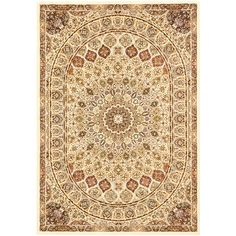 Persia Isfahan Cream 3 ft. 11 in. x 5 ft. 3 in. Area Rug, Beige