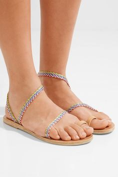 Ancient Greek Sandals - Eleftheria Raffia And Leather Sandals - Neutral - IT42