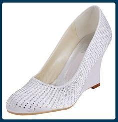 Kevin Fashion , Damen Modische Hochzeitsschuhe , Beige - Style2-Ivory -  Größe: 43
